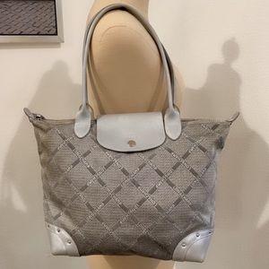 Auth Longchamp signature canvas & leather purse
